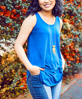 Lydiane Women's Tee Shirts SAPPHIRE - Sapphire Sleeveless Curved-Hem Top - Women