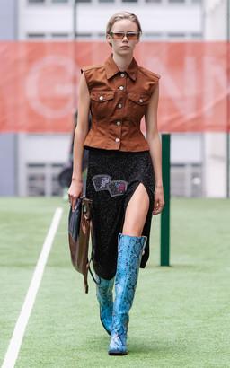 Ganni Beads Split Thigh Midi Skirt