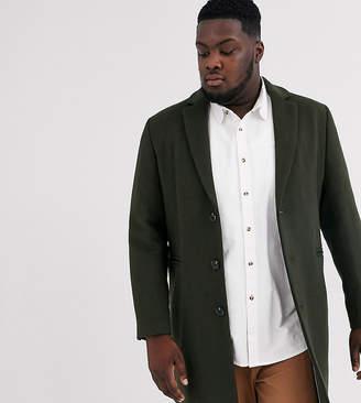 Asos Design DESIGN Plus wool mix overcoat in kahki-Green
