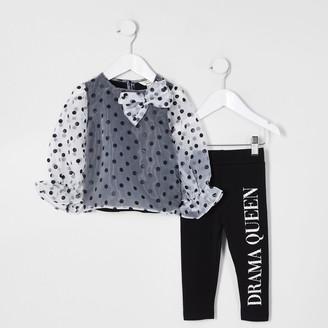 River Island Mini girls White spot organza bow top outfit