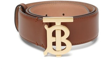 Burberry Tb Logo-plaque Leather Belt - Womens - Tan Gold