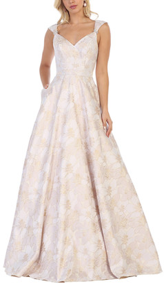 MayQueen Women's Special Occasion Dresses Champagne - Champagne Floral Pocket Detachable-Brooch Sweetheart Gown - Women