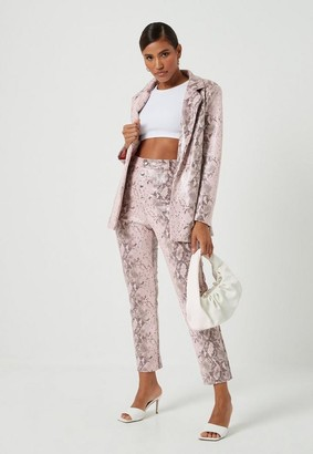 Missguided Pink Faux Leather Snake Print Blazer
