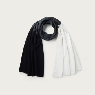 The White Company Wool-Cashmere Colourblock Essential Scarf, White/Black, One Size
