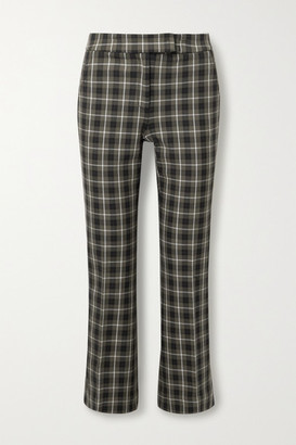MICHAEL Michael Kors Cropped Checked Cotton-blend Flared Pants