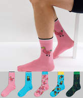 Asos Socks With Dodo And Toucan Design 5 Pack