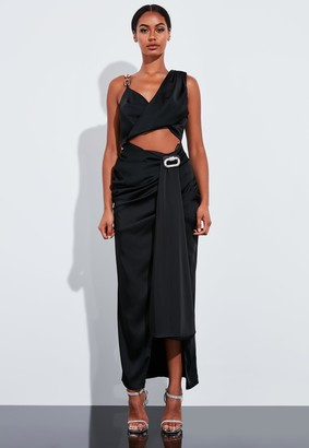 Missguided Black Drape Embellished Chain Top