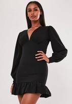 Missguided Black Fluted Sleeve V Neck Mini Dress