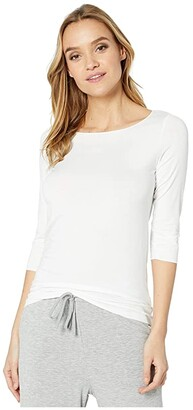 Majestic Filatures Long Sleeve Soft Touch Boatneck Tee (Blanc) Women's Clothing
