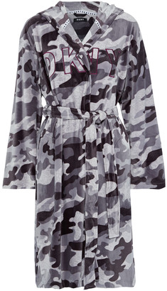 DKNY Urban Mindset Embroidered Printed Velour Hooded Robe