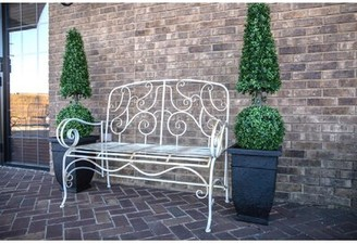 Stephen Distressed Metal Garden Bench One Allium Way