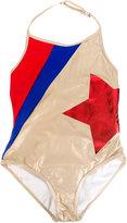 Little Marc Jacobs Golden one-piece swimsuit - kids - Elastodiene/Polyamide/Polyester/Spandex/Elastane - 4 yrs
