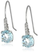 """Suzanne Kalan The Classics"""" White Gold, Round Blue Topaz, and Diamond Earrings"""