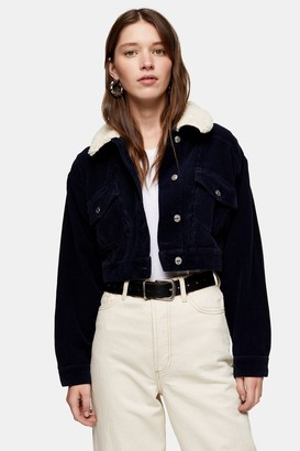 Topshop Navy Corduroy Cropped Jacket With Borg Collar