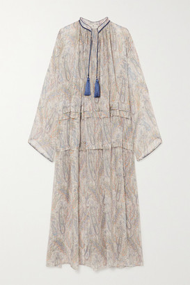 Etro Tasseled Paisley-print Silk-crepon Maxi Dress - Beige