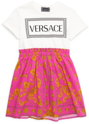 Versace Little Girl's & Girl's Logo Barocco-Print Dress