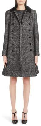 Dolce & Gabbana Velvet Trim Double Breasted Coat