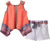 Little Lass Toddler Girl Tribal Chiffon Tank Top & Cuffed Shorts Set