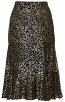 Altuzarra Clementine Lame-velvet Fluted Skirt - Womens - Black