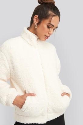 NA-KD Teddy Zip Up Jacket White