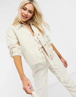 Miss Selfridge cotton shacket with tortoise buttons in cream