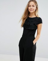 Vero Moda Tiered Ruffle Front Shirt with Cap Sleeves