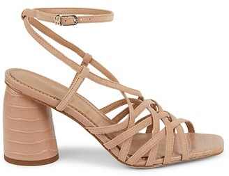 Sam Edelman Daffodil Ankle-Wrap Suede Croc-Embossed Heel Sandals