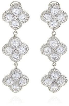Georgina Jewelry Silver Chandelier Diamond Flower Long Earrings