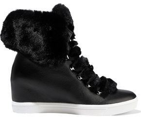 Donna Karan Cristin Faux Fur-trimmed Textured-leather Wedge Sneakers