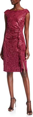 Marina Lace Cap-Sleeve Cascading Ruffle Dress