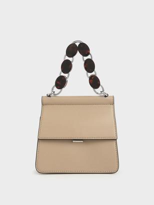 Charles & Keith Small Acrylic Tortoiseshell Top Handle Bag