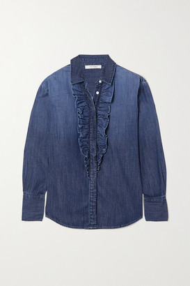 Frame Ruffle Tux Denim Shirt - Mid denim
