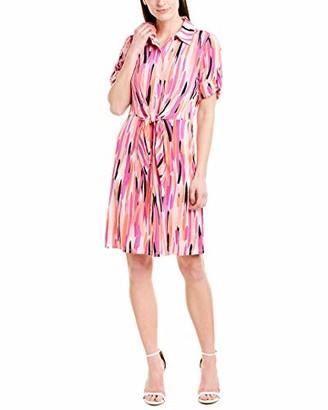 London Times Women's Pixie Sticks Printed Jersey Short Sleeve Shirt Dress