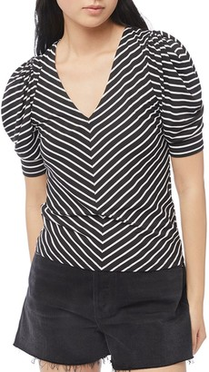 Frame Chevron Stripe Puff-Sleeve Shirred Top