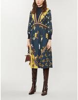 Ted Baker Dark Blue Savanna Mockable Neck Woven Midi Dress, Size: 6