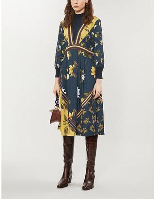 Ted Baker Dark Blue Savanna Mockable Neck Woven Midi Dress, Size: 8