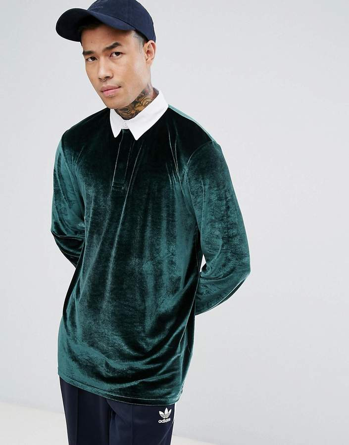 Asos Design Longline Rugby Polo Shirt In Velour