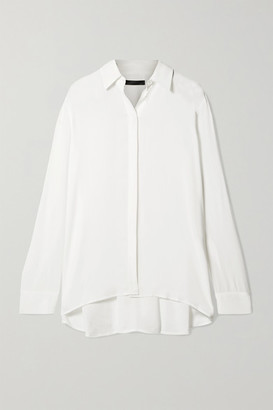 The Row Carla Pleated Chiffon Blouse - White