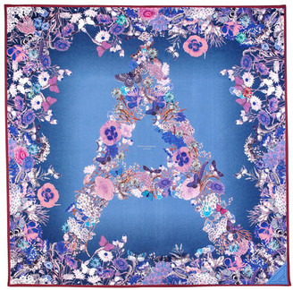 Aspinal of London Ombre 'A' Floral Silk Scarf