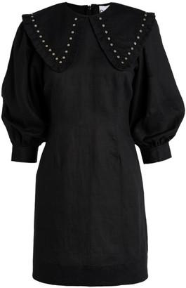 Ganni Linen Studded Mini Dress