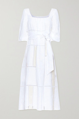 Gabriela Hearst Daphine Belted Embroidered Linen Midi Dress - White