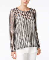 Bar III Printed Contrast Top, Only at Macy's