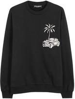 Dolce & Gabbana Black Appliquéd Cotton Sweatshirt