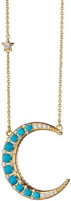 Monica Rich Kosann 18K Turquoise & Diamond Crescent Moon Necklace