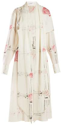 Loewe X Charles Rennie Mackintosh Rose-print Wool Dress - Womens - Ivory Multi