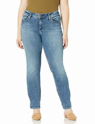 Silver Jeans Co. Women's Plus Size Boyfriend Mid Rise Slim Leg Jeans