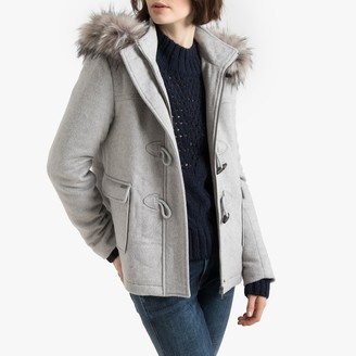 Pepe Jeans Duffle Coat with Faux Fur Hood and Pockets