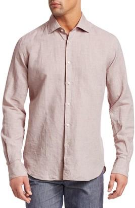 Saks Fifth Avenue Long Sleeve Linen Check Boucle Shirt