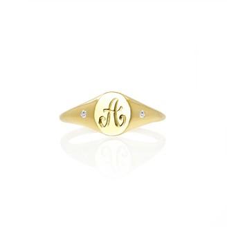 No 13 Mini Initial & Diamonds Signet Ring Solid Gold