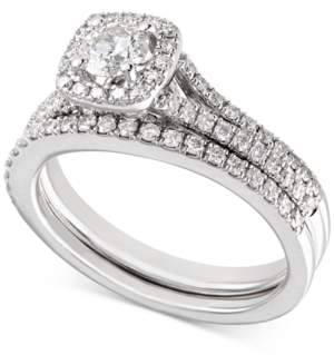 Macy's X3 Certified Diamond Engagement Ring and Wedding Band Bridal Set (1 ct. t.w.) in 18k White Gold, Created for